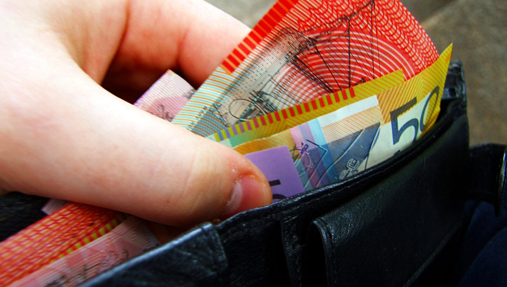 """Australian banknotes in wallet"" by Martin Kingsley from Melbourne, Australia - Cashmoney. Licensed under Creative Commons Attribution 2.0 via Wikimedia Commons - http://commons.wikimedia.org/wiki/File:Australian_banknotes_in_wallet.jpg#mediaviewer/File:Australian_banknotes_in_wallet.jpg"