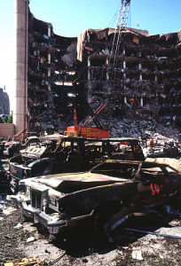 """Oklahomacitybombing-DF-ST-98-01356"" by Staff Sergeant Preston Chasteen - DefenseImagery.mil (F-3203-SPT-95-000023-XX-0198). Licensed under Public domain via Wikimedia Commons - http://commons.wikimedia.org/wiki/File:Oklahomacitybombing-DF-ST-98-01356.jpg#mediaviewer/File:Oklahomacitybombing-DF-ST-98-01356.jpg"
