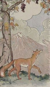 """The Fox and the Grapes"" by Aesop. When the fox fails to reach the grapes, he decides he does not want them after all. Rationalization (making excuses) is often involved in reducing anxiety about conflicting cognitions, according to cognitive dissonance theory."